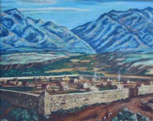 A painting of the original Fort Union in 1849