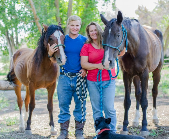Michael Dunn, a program participant with his horse Thor, a west desert Mustang, and Jayme Alexander director of Stable Place with Patton, A hanovarian