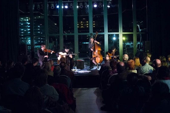 The group is Red Rock Hot Club, the Venue is the Gallivan Center, the Photographer is Lex Anderson