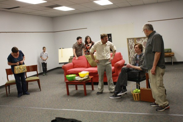 Cast of The Nerd rehersing Photo by Travis Green