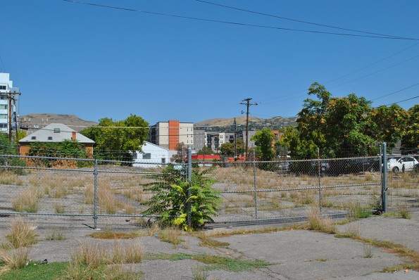 300 South parking lot behind Boozetiqe offers a few acres which could become an urban garden