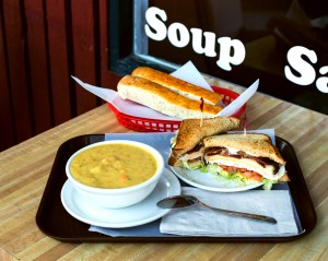 Soup kitchen Chedder Cheese Broccoli soup and the SKS sandwhich