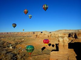 Hot air balloons flying over southern Utah