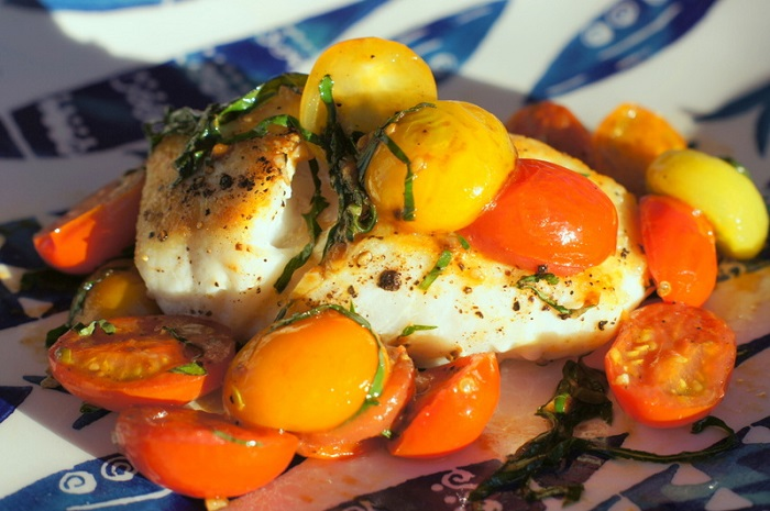 Halibut with Cherry Tomatoes & Basil