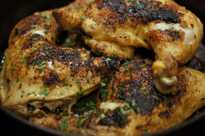 Braised Chicken Quarters with Herbs