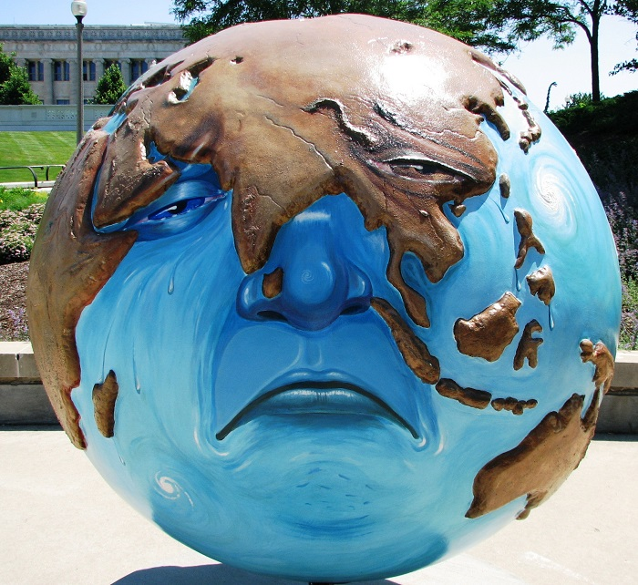 the new green deal model of a sad polluted Earth