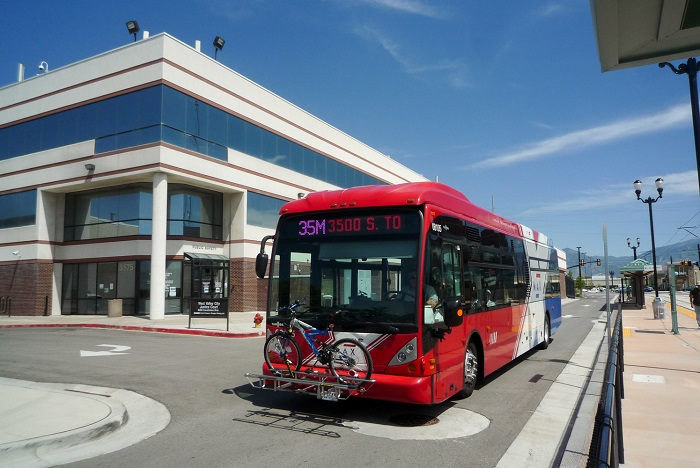 Salt Lake Air cleaning solution bus at the bus station