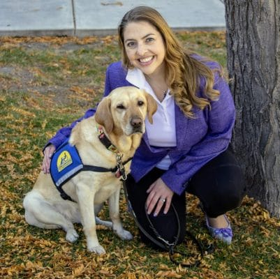 Utah Healing Center Dr. Janelle Nimer and Flower the therapy dog