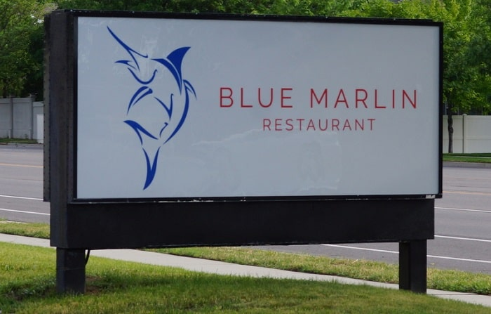 The Blue Marlin is contemporary with bursts of color, both on the plates, in the decor, and via paintings on the walls by local artists.