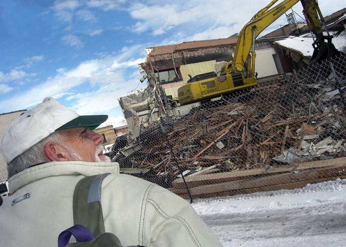 Jim Kirkman observes the demolition of the building in Sugar House where he would find dozens of artifacts from across history.