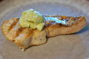 fish with avocado sauce from Scheff's Table