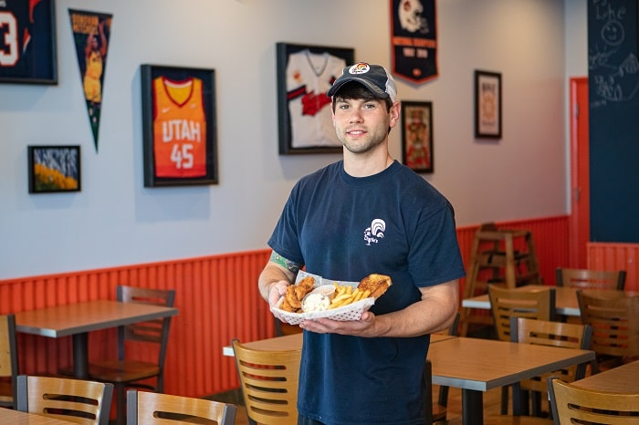 Co-owner of Mr. Charlie's Chicken Fingers, Cody Hilliard.