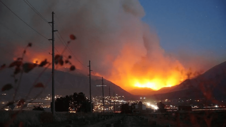 View of the Pole Creek and Bald Mountain Fires in 2018