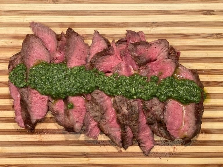 Grilled Flat Iron Steak with Pesto Butter