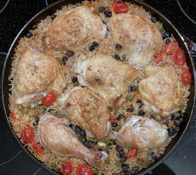 Chicken Thighs with Black Beans & Rice