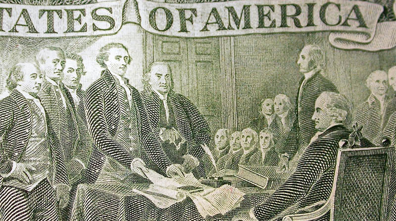 The Constitutional Convention depicted on the backside of the $2 bill.